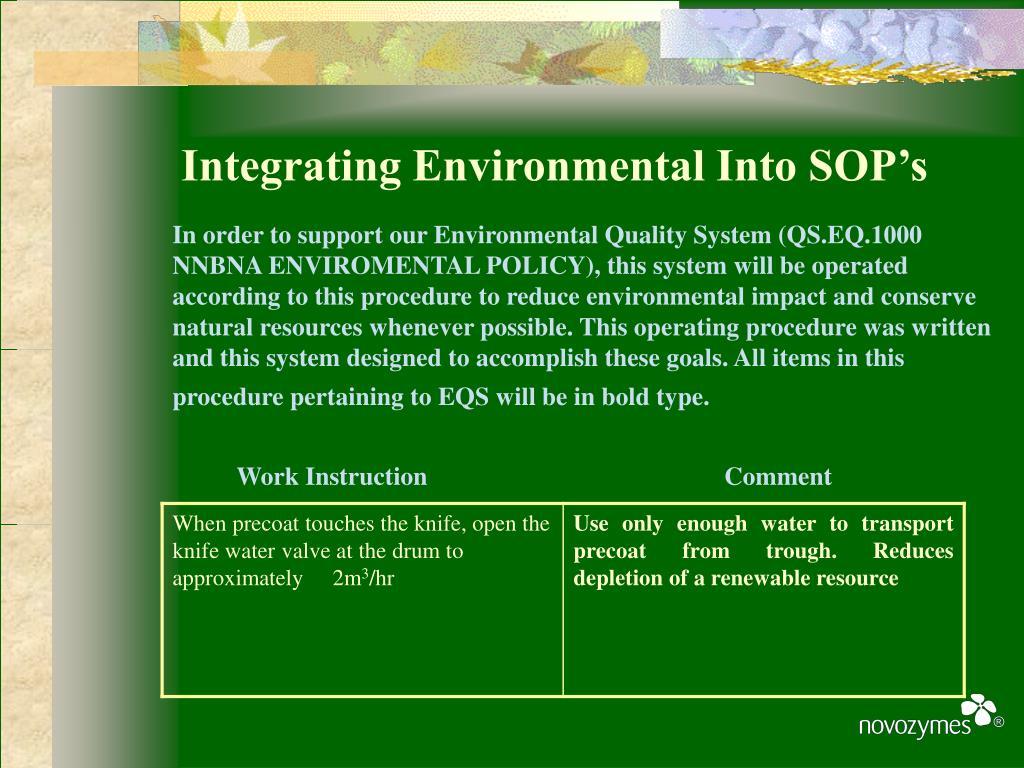 Integrating Environmental Into SOP's