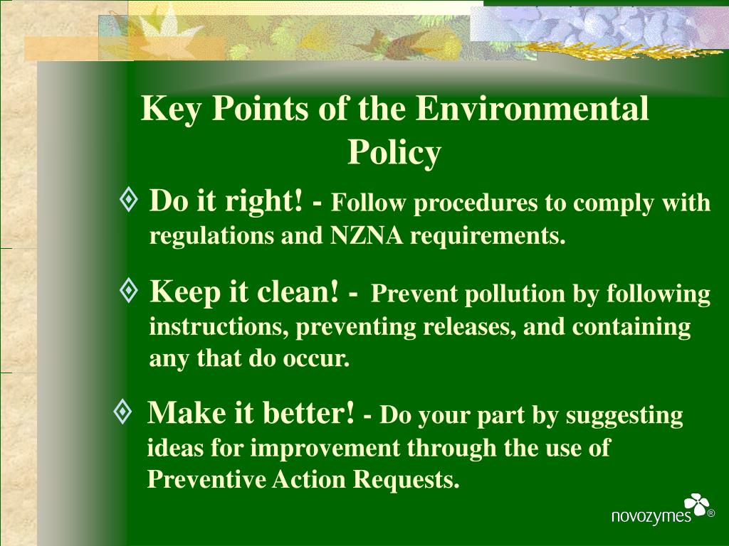 Key Points of the Environmental Policy
