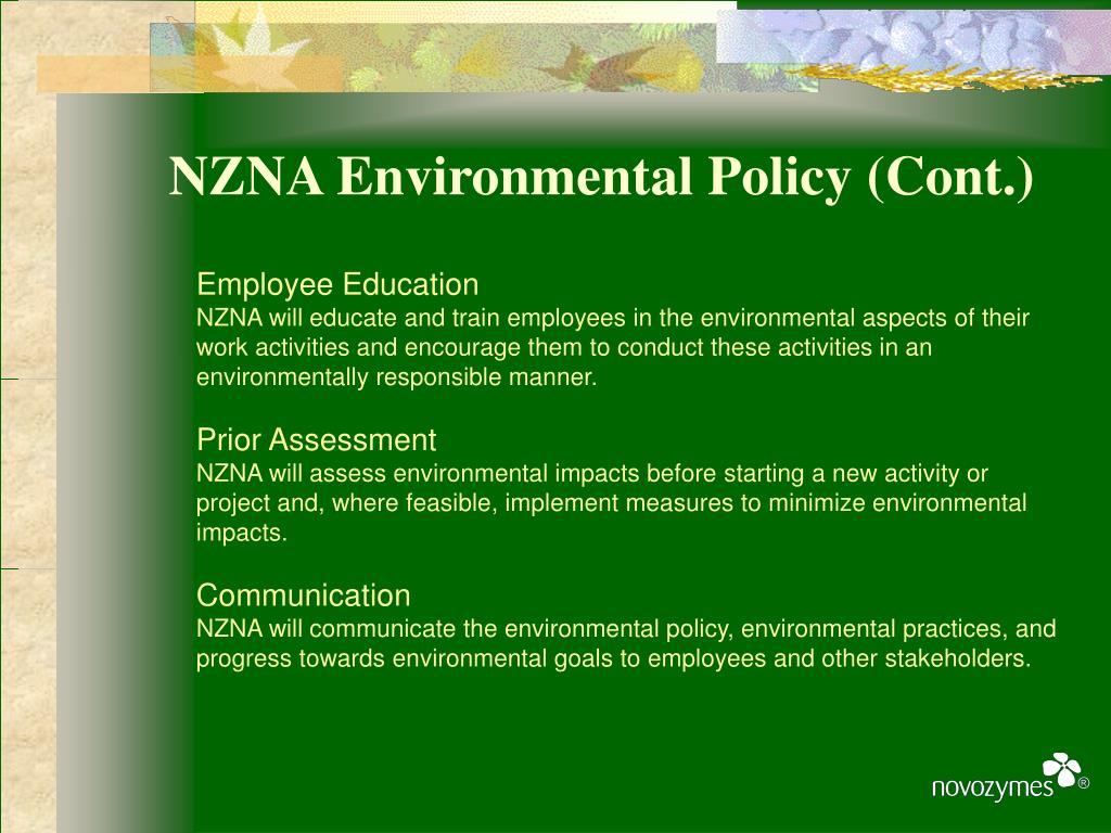 NZNA Environmental Policy (Cont.)