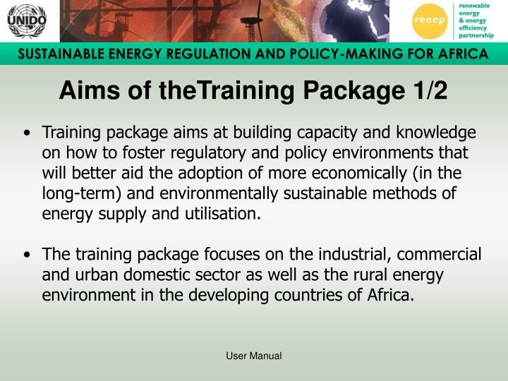 Aims of the training package 1 2