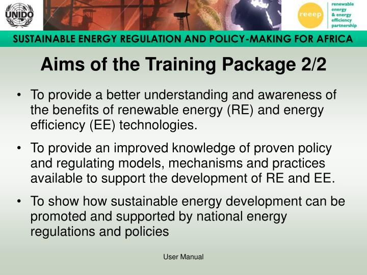 Aims of the training package 2 2