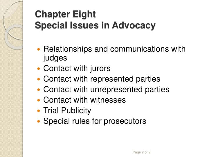 Chapter eight special issues in advocacy2