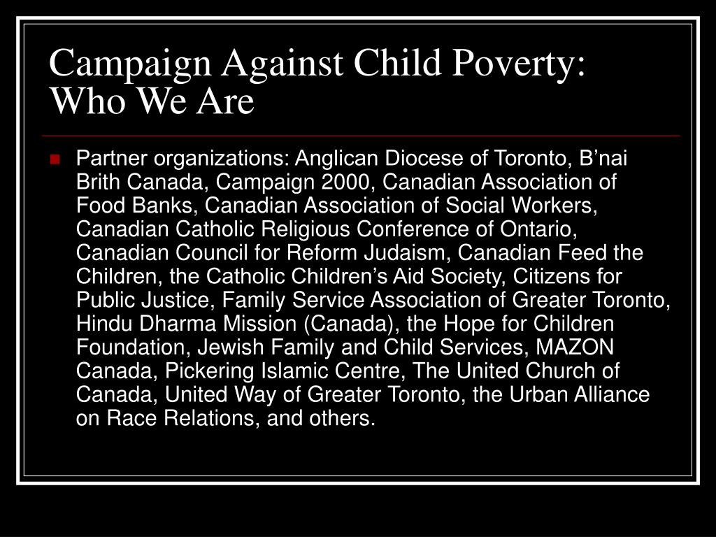 Campaign Against Child Poverty: Who We Are