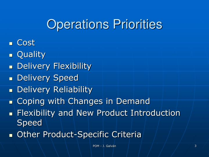 Operations priorities