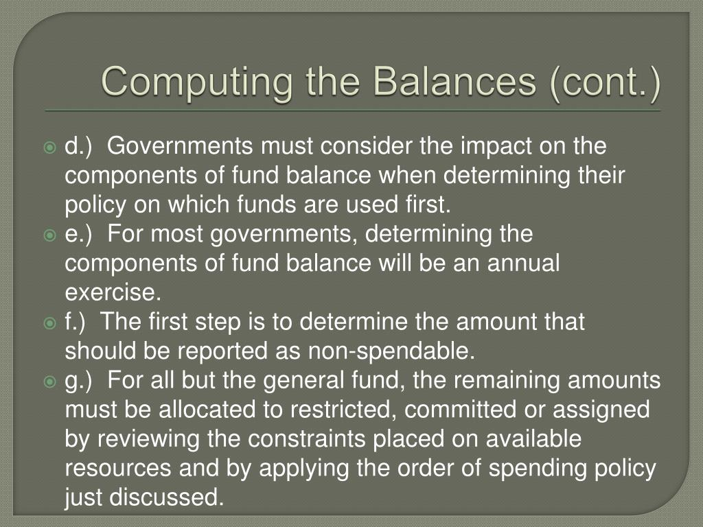 Computing the Balances (cont.)