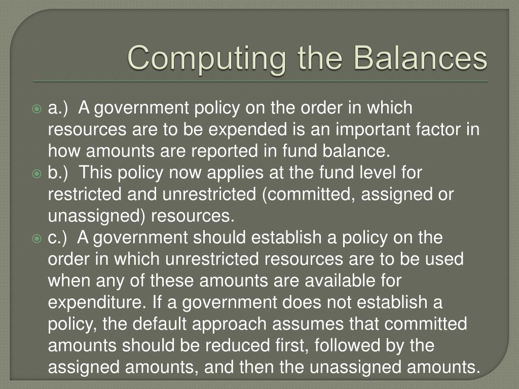 Computing the Balances