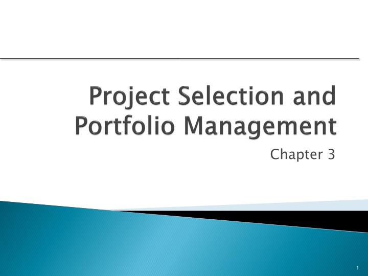 project selection and portfolio management n.