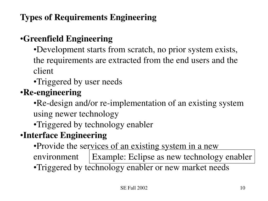Types of Requirements Engineering