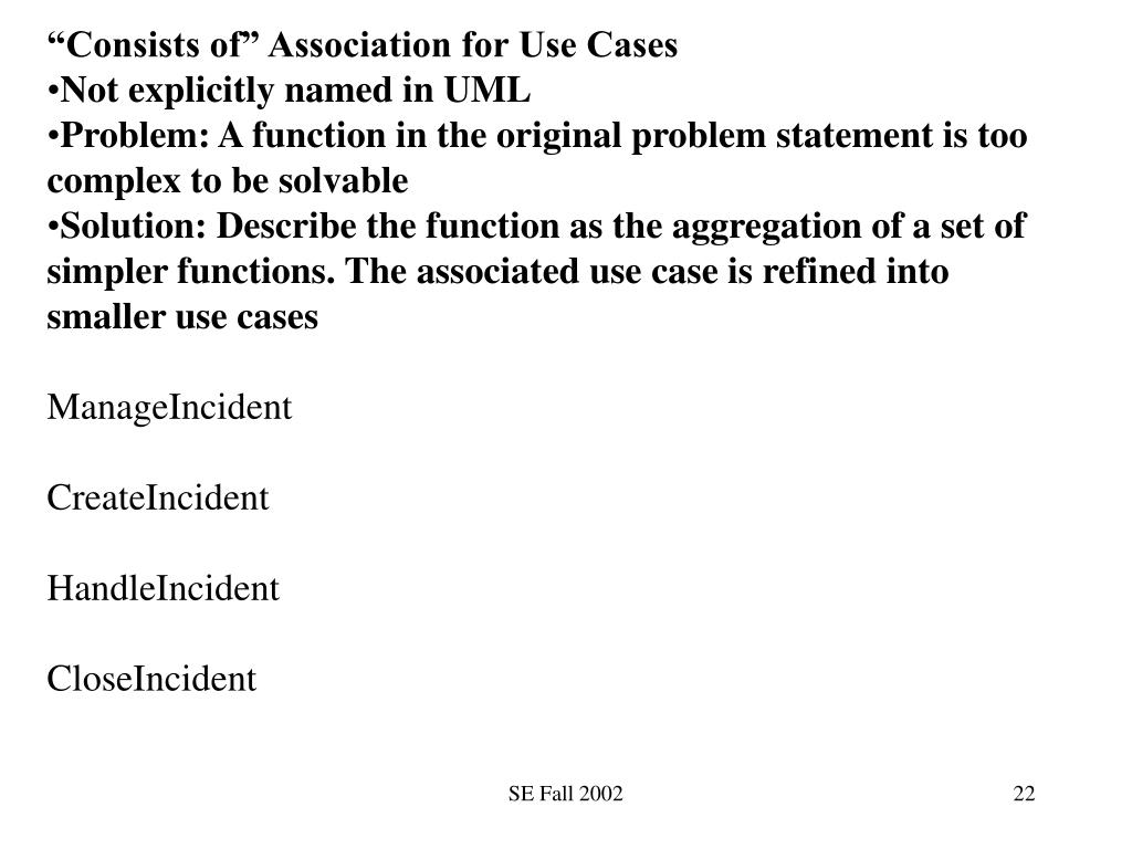 """""""Consists of"""" Association for Use Cases"""
