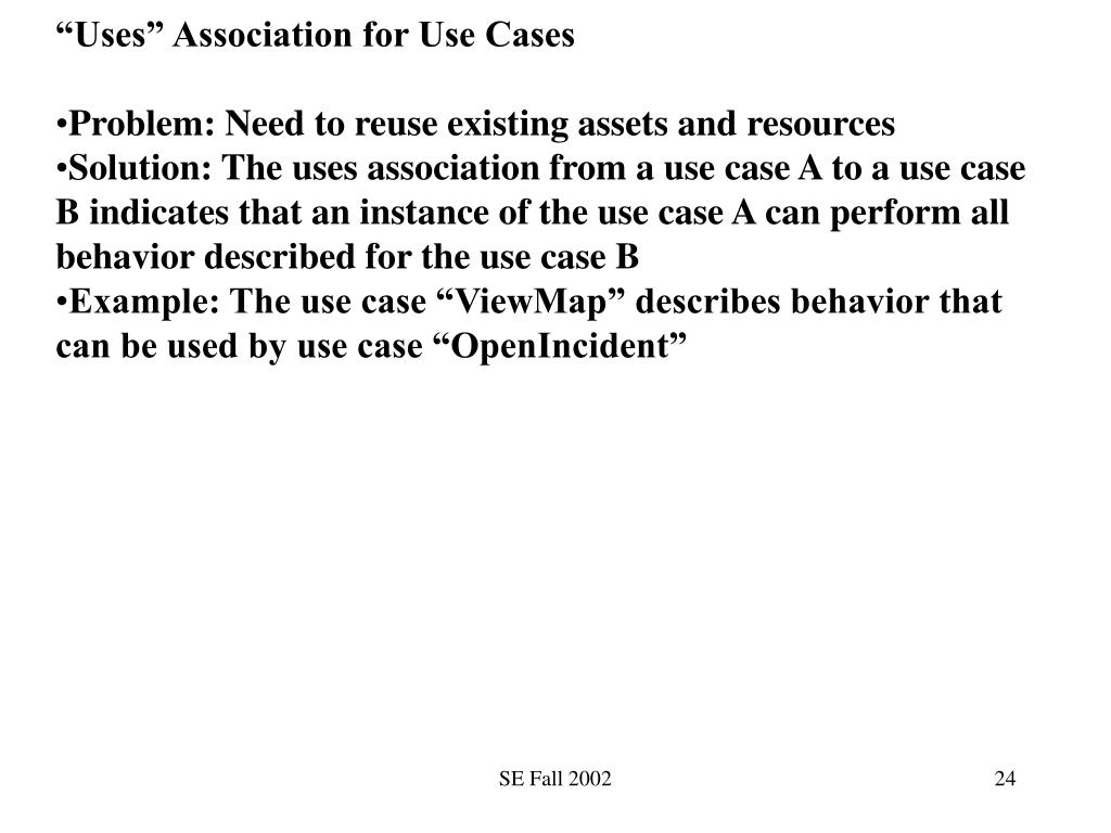 """""""Uses"""" Association for Use Cases"""