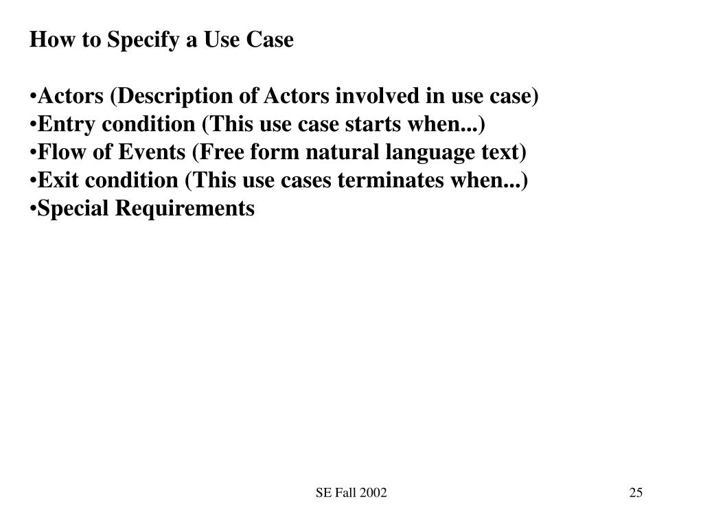 How to Specify a Use Case