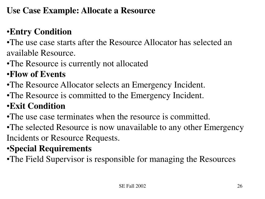 Use Case Example: Allocate a Resource