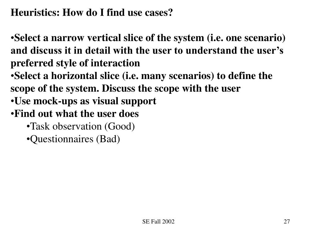Heuristics: How do I find use cases?