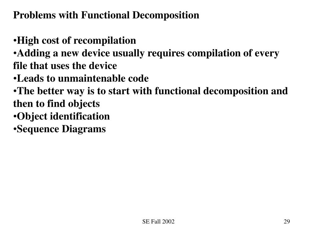 Problems with Functional Decomposition