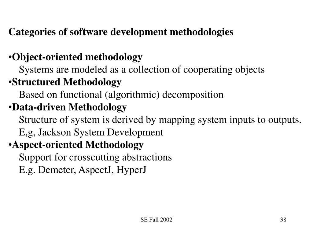 Categories of software development methodologies