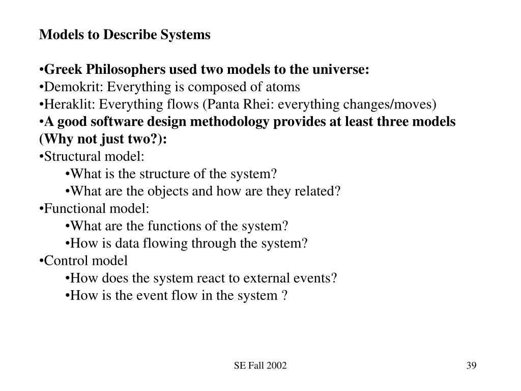 Models to Describe Systems