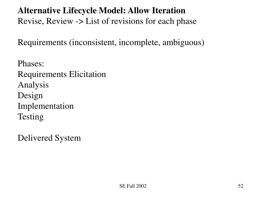 Alternative Lifecycle Model: Allow Iteration