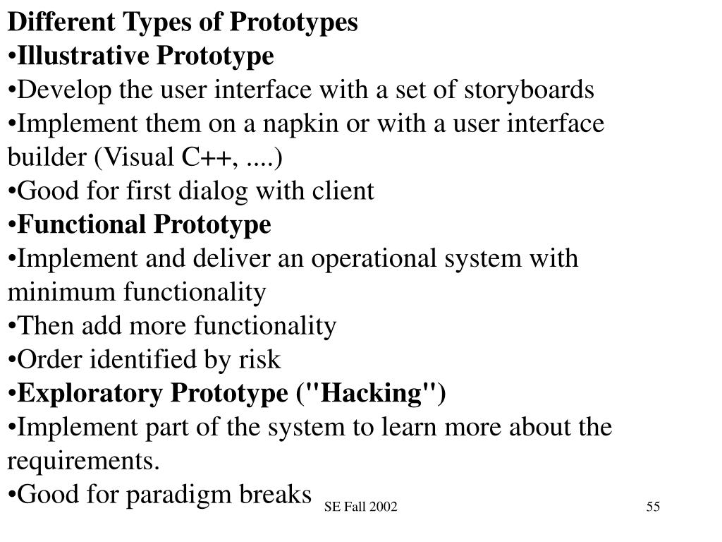 Different Types of Prototypes