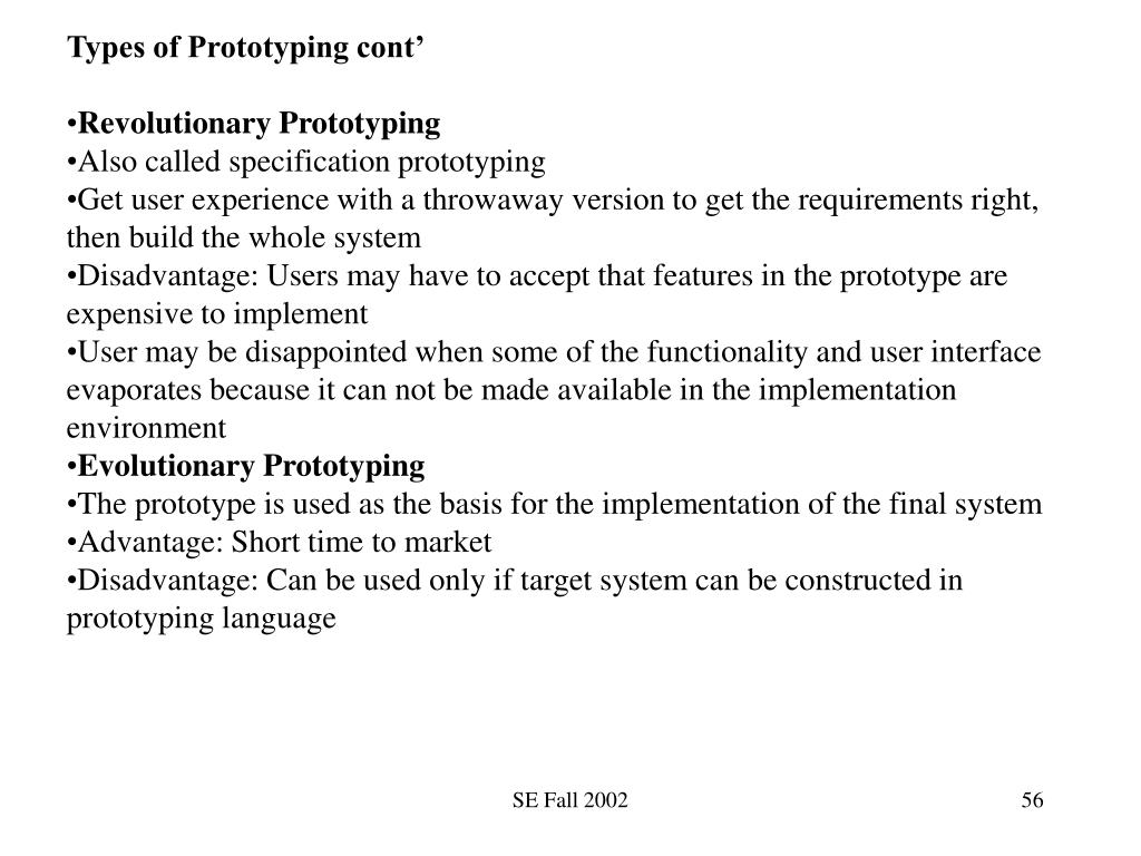 Types of Prototyping cont'