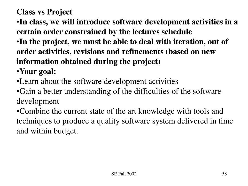 Class vs Project