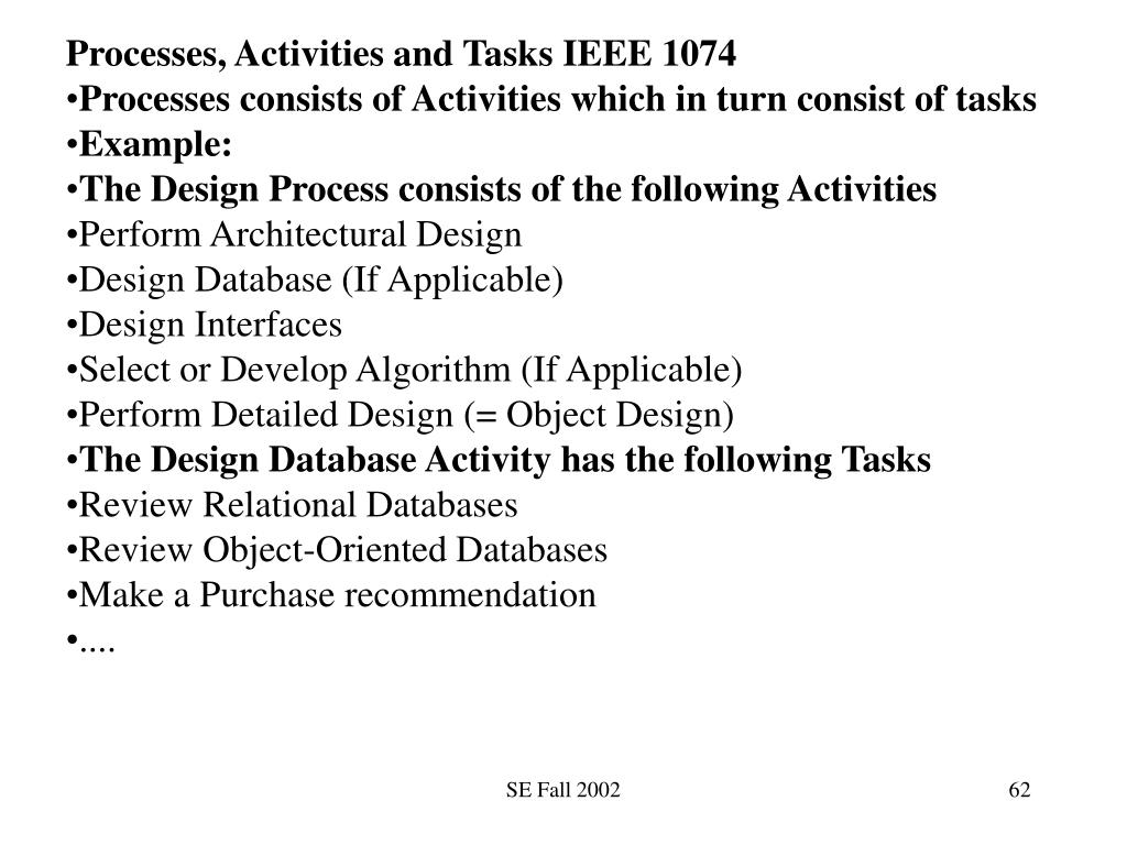 Processes, Activities and Tasks IEEE 1074