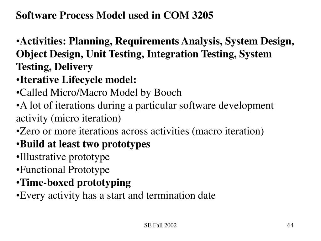 Software Process Model used in COM 3205