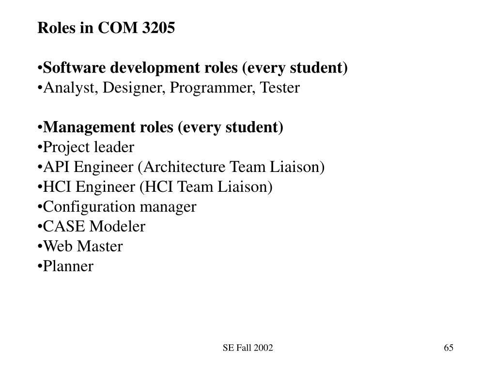 Roles in COM 3205