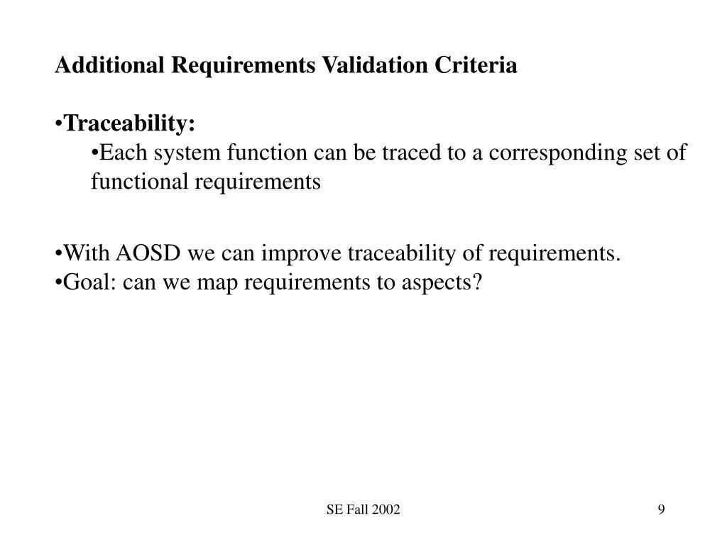 Additional Requirements Validation Criteria