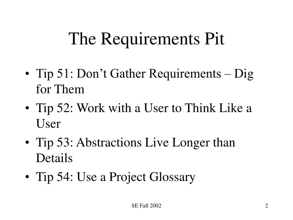 The Requirements Pit