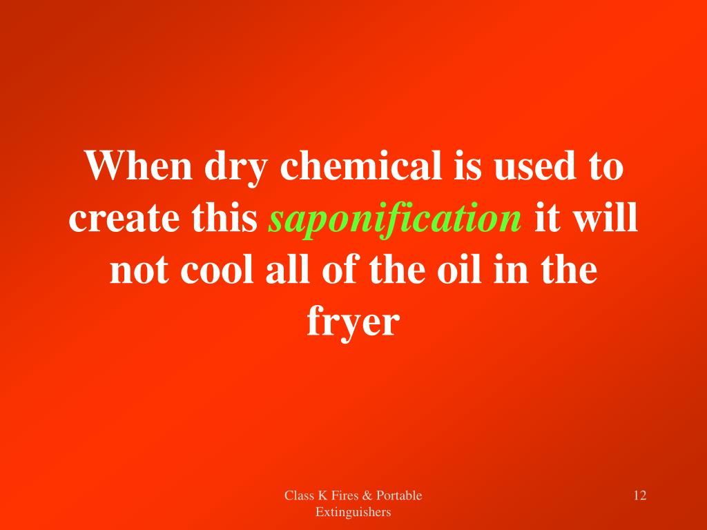 When dry chemical is used to create this
