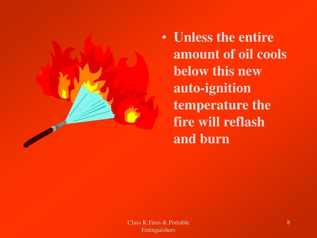 Unless the entire amount of oil cools below this new auto-ignition temperature the fire will reflash and burn