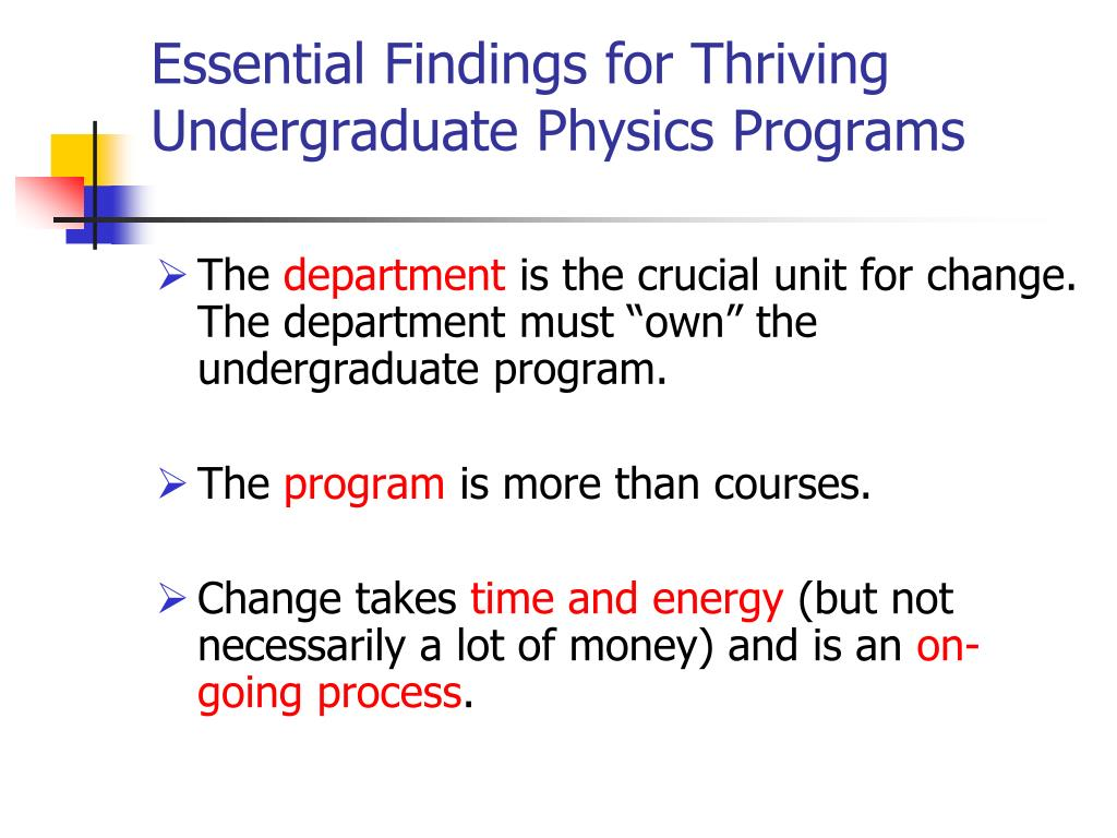 Essential Findings for Thriving Undergraduate Physics Programs