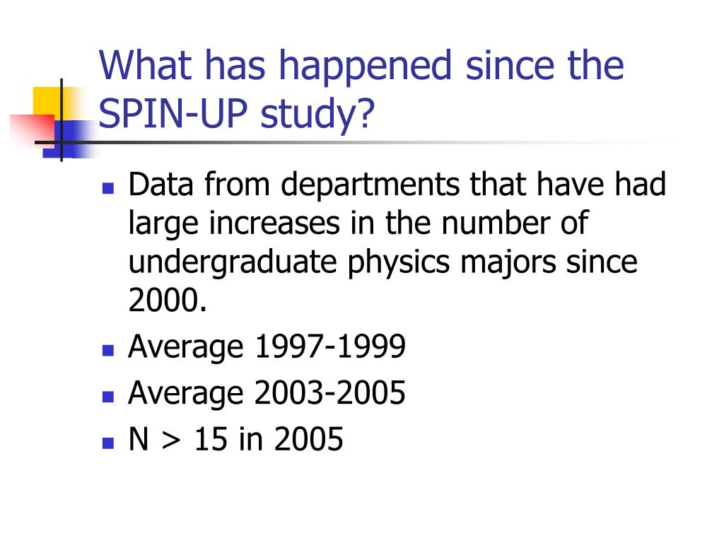 What has happened since the SPIN-UP study?