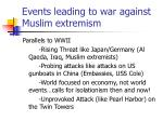 events leading to war against muslim extremism