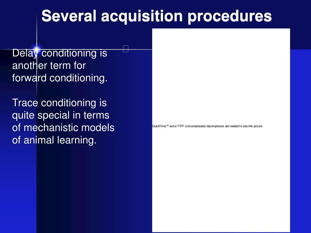 Several acquisition procedures