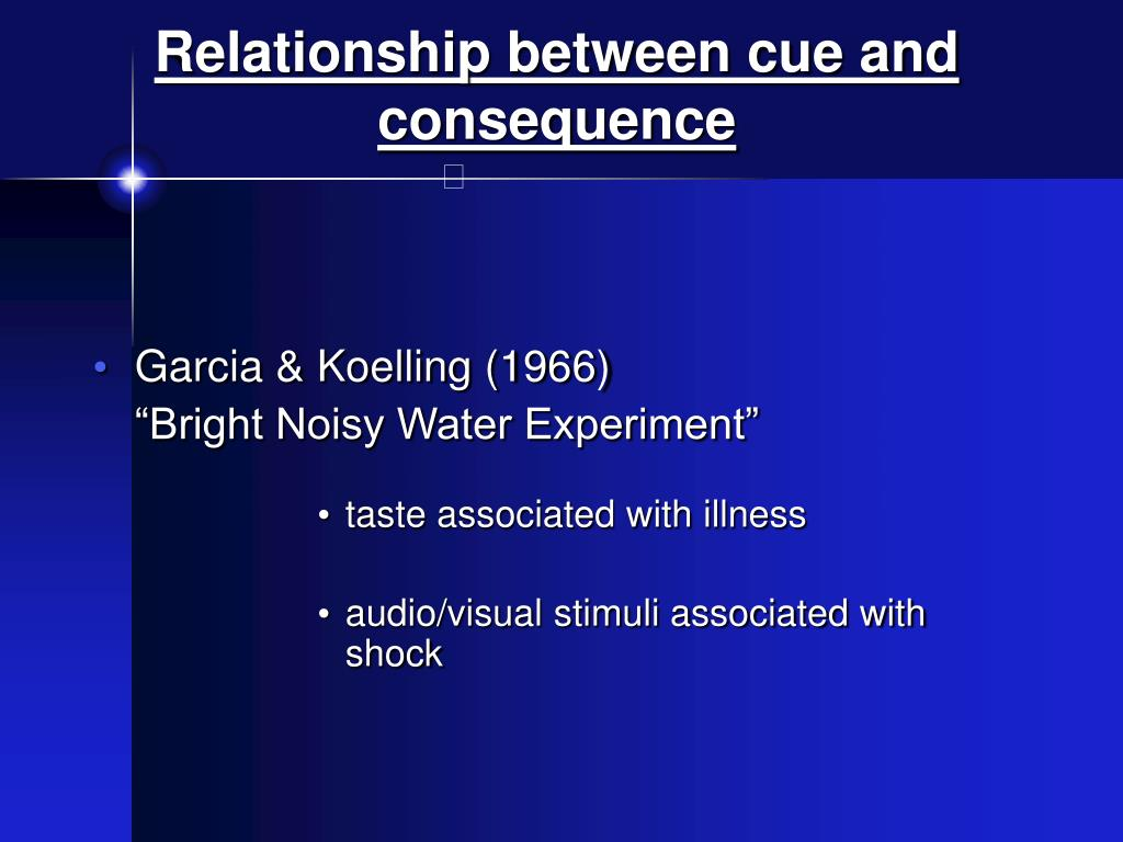 Relationship between cue and consequence