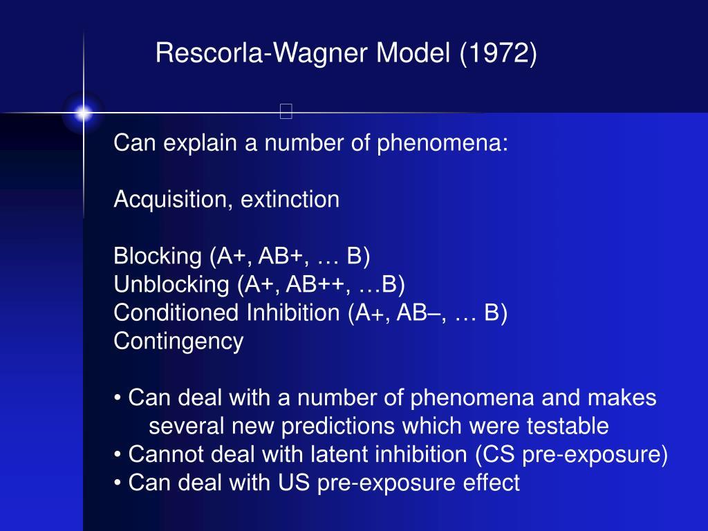 Rescorla-Wagner Model (1972)