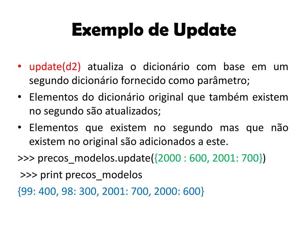 Exemplo de Update