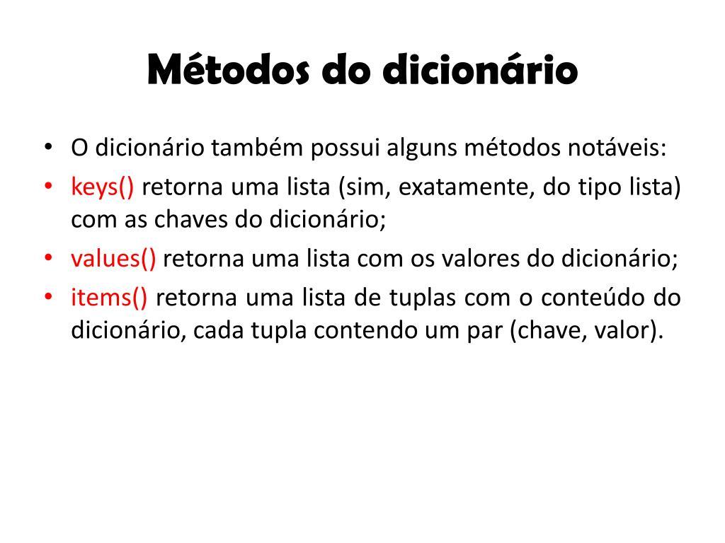 Métodos do dicionário