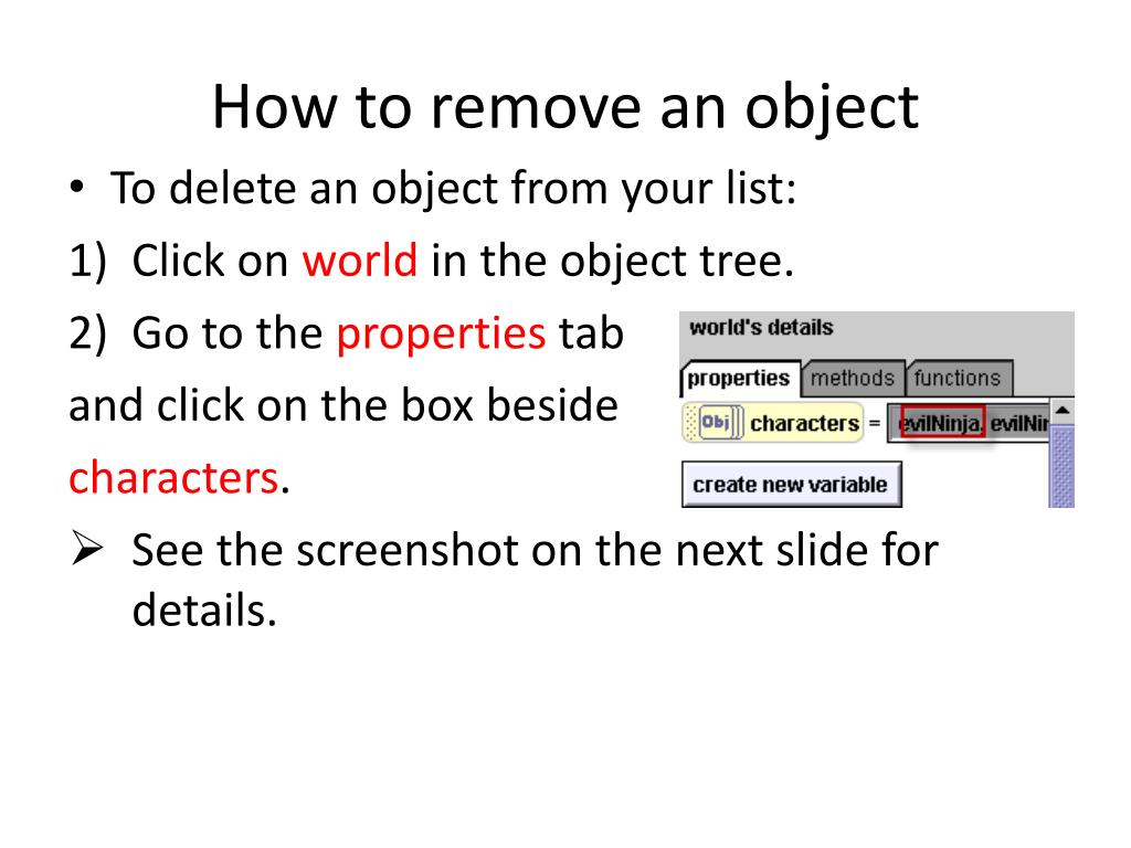 How to remove an object