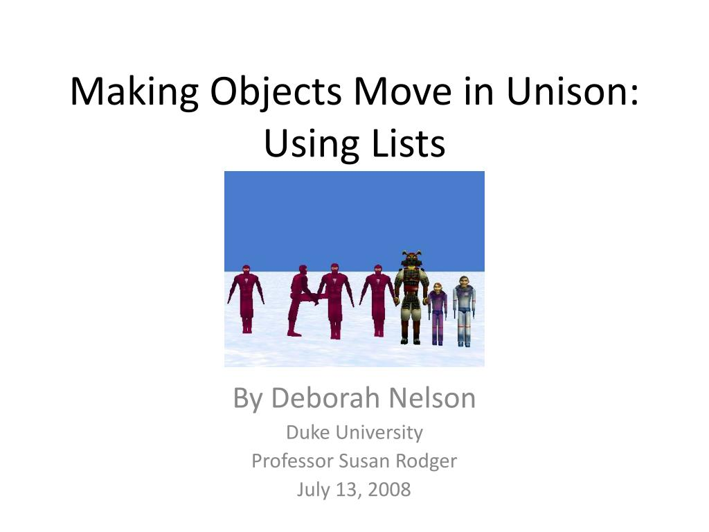 Making Objects Move in Unison: Using Lists