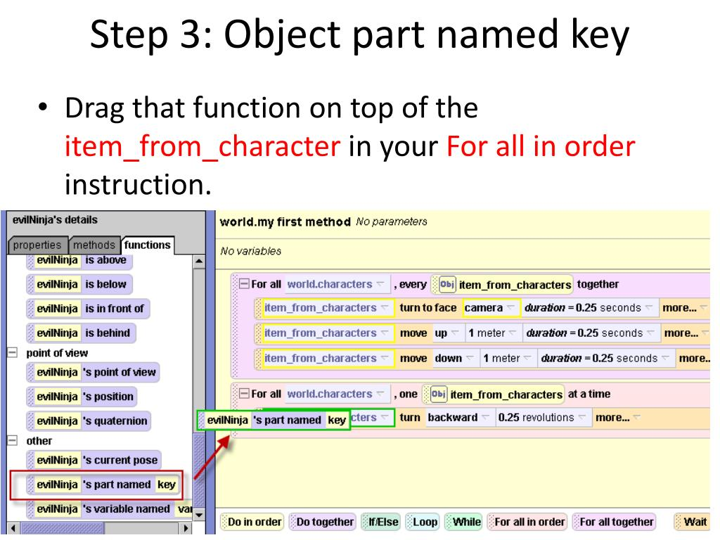 Step 3: Object part named key
