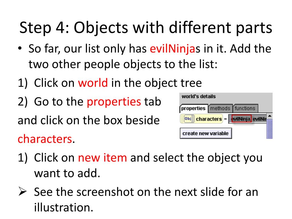 Step 4: Objects with different parts