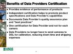benefits of data providers certification