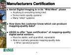 manufacturers certification