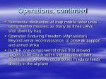 operations continued
