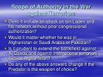 scope of authority in the war against terrorism