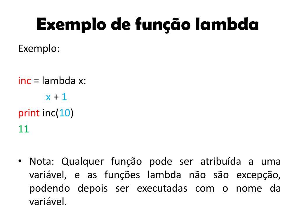 Exemplo de função lambda