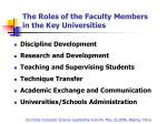 the roles of the faculty members in the key universities