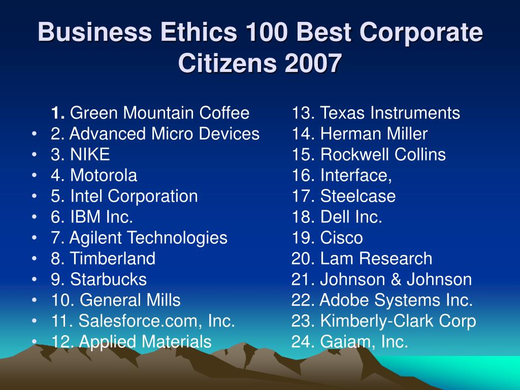 Business Ethics 100 Best Corporate Citizens 2007